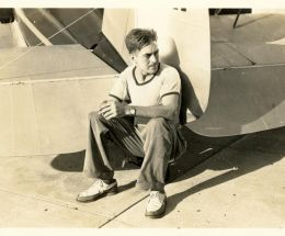 Ned Egbert with his plane
