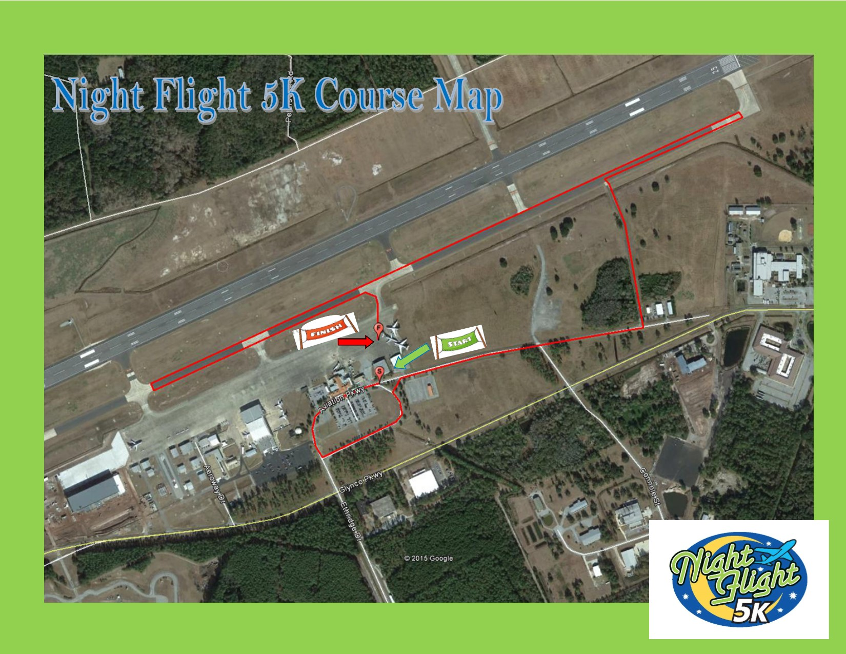 Night Flight 5K Course Map