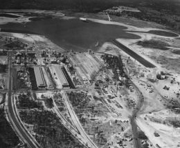 . Aerial of hangar under construction