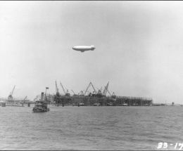 Blimp over shipyards