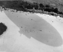 Blimp shadow beach